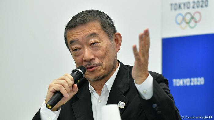 Hiroshi Sasaki soeaks dyring a press conference in 2018. (Photo by Kazuhiro NOGI / AFP)