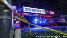 Crime scene tape is seen outside Aromatherapy Spa after shootings at a massage parlor and two day spas in the Atlanta area, in Georgia, U.S. March 16, 2021. REUTERS/Chris Aluka Berry