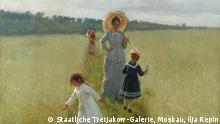 Ilja Repin, Auf dem Feldrain. Vera A. Repina geht mit ihren Kindern über den Feldrain, 1879, Öl auf Leinwand, 61,5 x 48 cm, © Staatliche Tretjakow-Galerie, Moskau