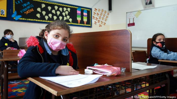 Jordanian schoolchildren wearing facemasks and keeping social distance