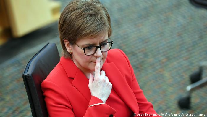 First Minister's Questions. First Minister Nicola Sturgeon during First Minister's Questions at the Scottish Parliament in Holyrood, Edinburgh. Picture date: Thursday March 18, 2021.
