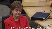 First Minister's Questions. First Minister Nicola Sturgeon during First Minister's Questions at the Scottish Parliament in Holyrood, Edinburgh. Picture date: Thursday March 18, 2021. See PA story HEALTH Coronavirus Scotland. Photo credit should read: Fraser Bremner/Daily Mail/PA Wire URN:58676827
