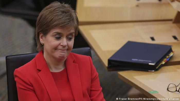 First Minister Nicola Sturgeon during First Minister's Questions at the Scottish Parliament in Holyrood, Edinburgh. Picture date: Thursday March 18, 2021.
