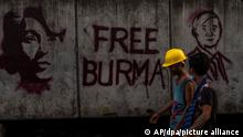 Myanmar Anti-Putsch-Demonstranten Graffiti Aung San Suu Kyi