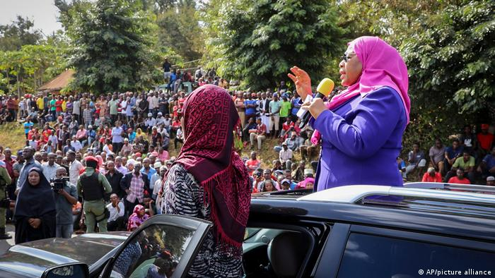 Tanzania's Vice President Samia Suluhu Hassan, right, speaks during a tour of the Tanga region of Tanzania
