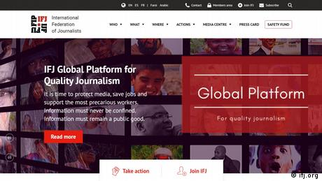 Shttps://www.ifj.org/creenshot der Website The International Federation of Journalists