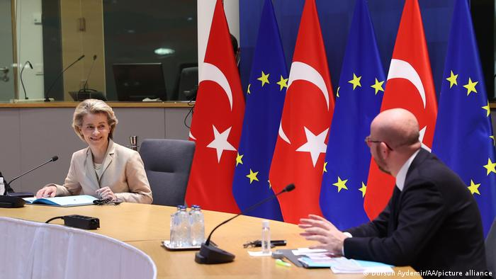 Recep Tayyip Erdogan videocall with Charles Michel und Ursula von der Leyen