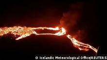 Lava streams are seen during a volcanic eruption in Fagradalsfjall, Reykjanes, Iceland, March 19, 2021 in this still image taken from video provided on social media. Mandatory credit Icelandic Meteorological Office ? IMO/via REUTERS. ATTENTION EDITORS - THIS IMAGE HAS BEEN SUPPLIED BY A THIRD PARTY. MANDATORY CREDIT. NO RESALES. NO ARCHIVES.