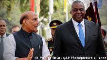 Indien   US Verteidigungsminister Lloyd Austin trifft Amtskollege Rajnath Singh