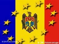 Symbolbild - moldauische Flagge und ein Sternenkreis (Foto: DW)