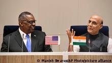 Indien | US Vertiedigungsminister Lloyd Austin trifft Amtskollege Rajnath Singh