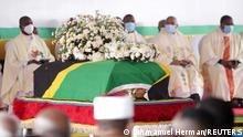 The coffin of late Tanzanian President John Pombe Magufuli draped in the national flag, is seen during the state funeral procession at Uhuru stadium, the venue of the national requiem Mass in Dar es Salaam, Tanzania March 20, 2021. REUTERS/Emmanuel Herman NO RESALES. NO ARCHIVES