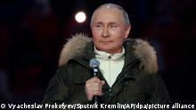 18/03/2021*** Wladimir Putin, Präsident von Russland, spricht vor einem Konzert anlässlich des siebten Jahrestages des Referendums über den staatlichen Status der Krim und Sewastopol und ihre Wiedervereinigung mit Russland. +++ dpa-Bildfunk +++