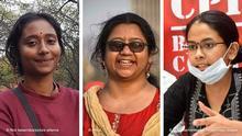 Links: 12.02.2018, Indien, Neu Delhi:Dipsita Dhar steht vor einer Statue des indischen Staatsgründers Jawaharlal Nehru auf dem Campus der nach ihm benannten Universität in Neu Delhi (Indien). Die 24-Jährige ist eine Anführerin der Studentenvereinigung SFI und Co-Initiatorin einer Aktion, bei der Frauen dem indischen Finanzminister Damenbinden schickten, um gegen eine neue Steuer auf Binden zu protestieren. Unter anderem aus Kostengründen, aber auch wegen fehlender Aufklärung, nutzen Statistiken zufolge weniger als 60 Prozent der jungen Frauen in Indien während der Regel Binden oder andere hygienische Produkte. (Zu «Menstruierende Frauen verboten: Indischer Film bricht Tabu» vom 15.02.2018 Foto: Nick Kaiser/dpa ++ Mitte: Shabnam Surita Madhuja Sen Roy, a young candidate in the elections of the Indian state West Bengal. She is a member of the Communist Party of India (Marxist) or CPI(M) Rechts: PATNA, INDIA - OCTOBER 22: JNUSU president Aishe Ghosh addresses a press conference at CPI-M office, in Jamal road, Patna, Bihar, India, on Thursday Oct 22, 2020. Photo by Santosh Kumar/Hindustan Times Bihar Assembly Election 2020 PUBLICATIONxNOTxINxIND