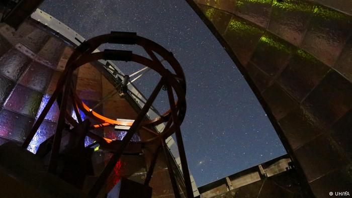 NASA's Infrared Telescope is seen inside the dome in Hawaii during a night of observing