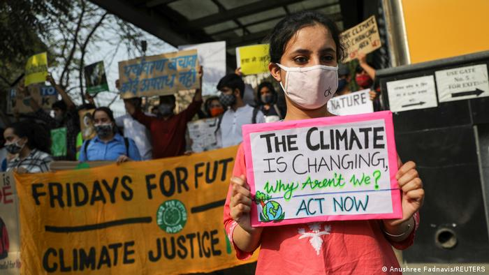 People take part in a 'Fridays for Future' march towards the Delhi Secretariat building, calling for urgent measures to combat climate change, in New Delhi, India