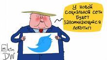 Karikatur Sergey Elkin Donald Trump Social Media
