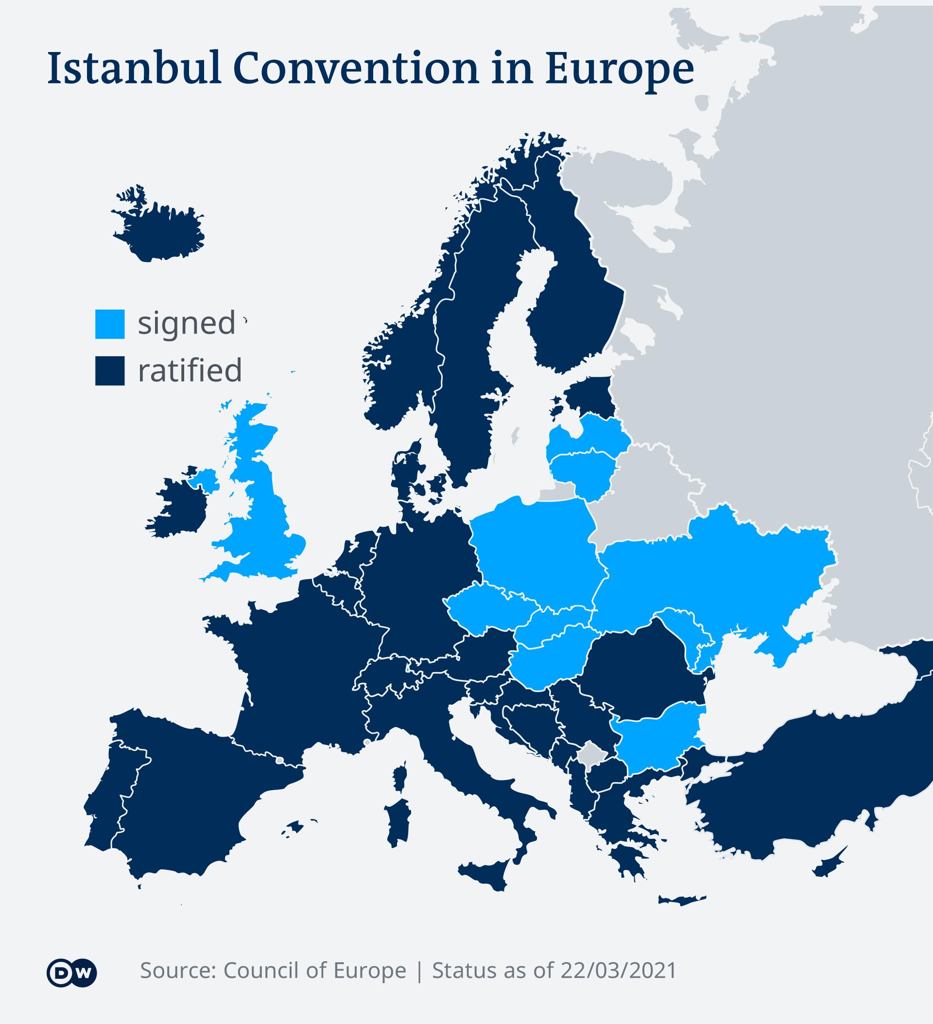 Negara yang meratifikasi Konvensi Istanbul yang menguatkan hak perempuan melawan kekerasan, pemerkosaan atau pelecehan seksual.