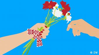 Руки с цветами