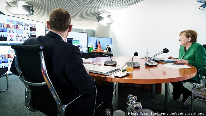 MPK Merkel und Müller zu Coronavirus-Lockdown