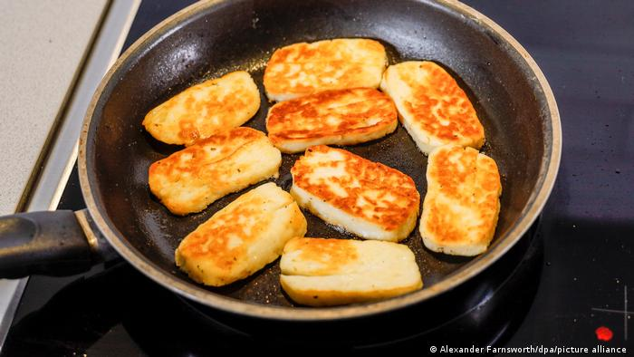 Halloumi cheese in a frying pan