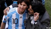 Argentina head coach Diego Maradona, right, and Argentina's Lionel Messi, left walk off the pitch after the World Cup group B soccer match between Argentina and South Korea at Soccer City in Johannesburg, South Africa, Thursday, June 17, 2010. Argentina won 4-1. (AP Photo/Marcio Jose Sanchez)
