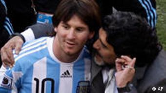 Messi and Diego Maradona at the World Cup