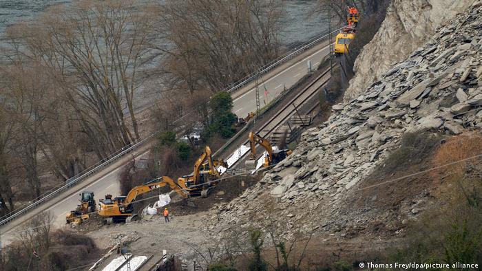Место обвала скалы на Среднем Рейне