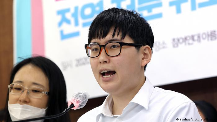 Byun Hee-soo speaking at a news conference in Seoul, in August 2020