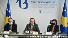 Prime minister of Kosovo Albin Kurti and deputy primeministers Besnik Bislimi and Donika Gervalla Deutsche Welle have all right to use those photos for website Date: 23.03.2021