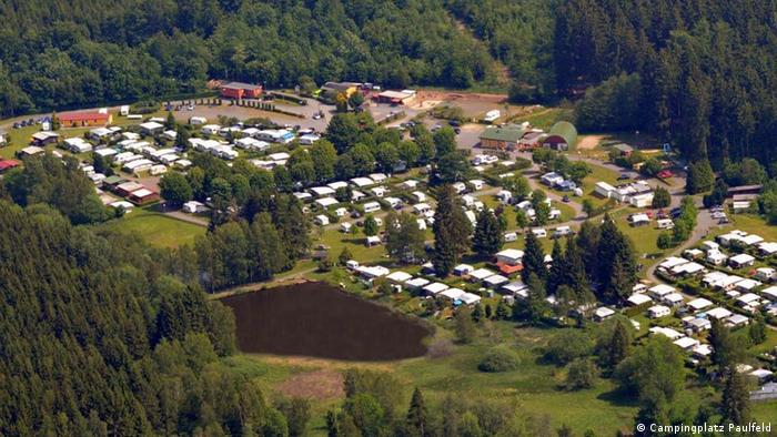 Aerial view of camping site Paulfeld, Germany