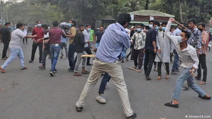 Bangladesch Demonstration auf Campus der Universität von Dhaka angegriffen