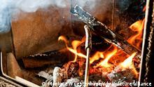 ILLUSTRATION - Eine Frau bringt am 13.08.2012 in Golßen (Brandenburg) einen Holzscheit in einem brennenden Kamin in die richtige Position.