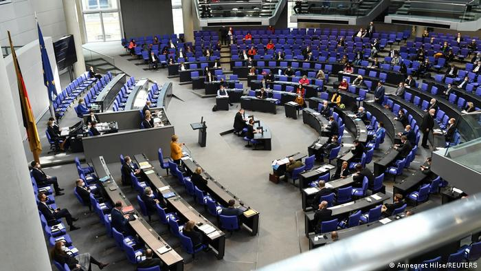 Bird's eye view of Angela Merkel in the assembly in March