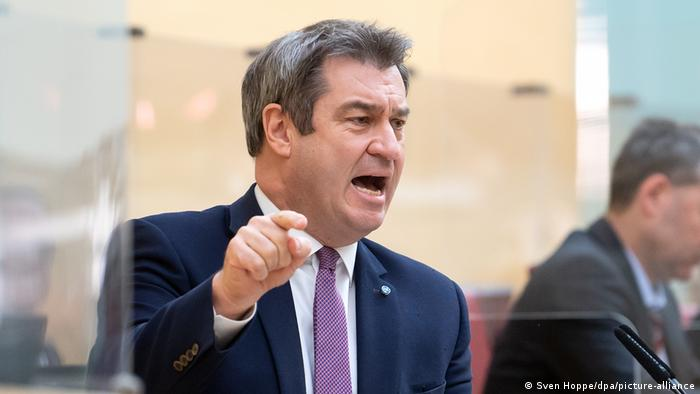 Markus Söder speaking to the regional parliament in Munich