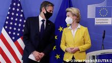 U.S. Secretary of State Antony Blinken and European Commission President Ursula von der Leyen attend the meeting in Brussels, Belgium, March 24, 2021. Olivier Hoslet/Pool via Reuters