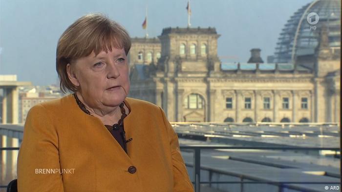 Bundeskanzlerin Merkel im ARD Brennpunkt am 24.03.2021