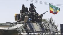 MEKELLE, ETHIOPIA - MARCH 07: Units of Ethiopian army patrol the streets of Mekelle city of the Tigray region, in northern Ethiopia on March 07, 2021 after the city was captured with an operation towards Tigray People's Liberation Front (TPLF). Minasse Wondimu Hailu / Anadolu Agency