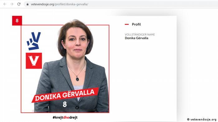 Screenshot vetevendosje.org Donika Gërvalla-Schwarz