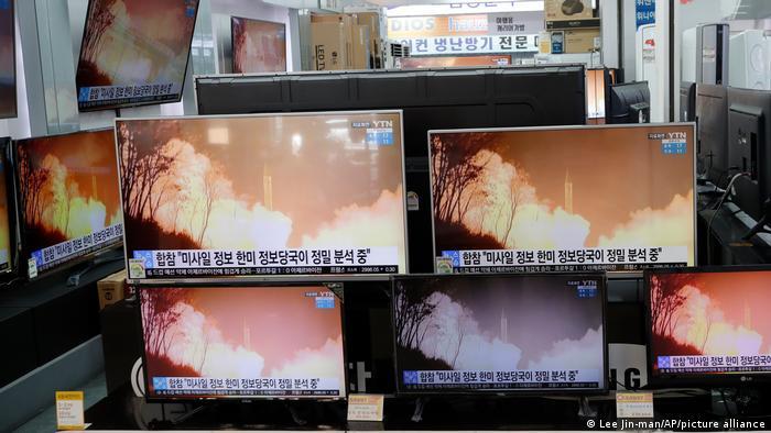 Der nordkoreanische Raketentest - gleich vielfach dokumentiert von einem Geschäft für Unterhaltungselektronik in Seoul
