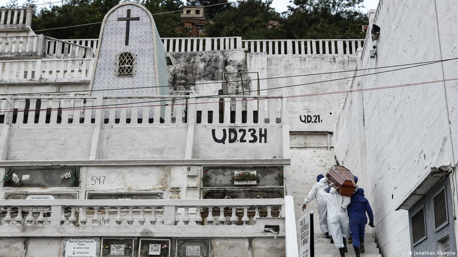 Pessoas carregam o caixão para o cemitério do Rio de Janeiro