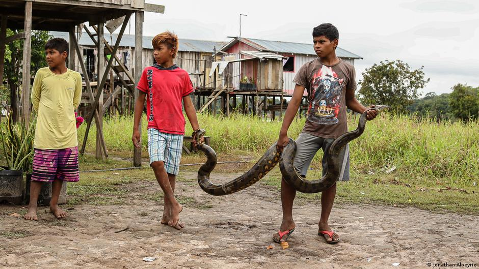 Os três meninos mantêm uma cobra nas palafitas perto das pequenas casas de madeira