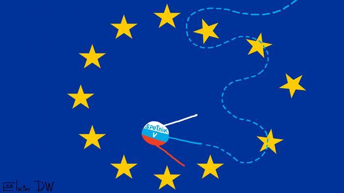 Karikatur der EU-Flagge mit dem russischen Sputnik V Impfstoffes