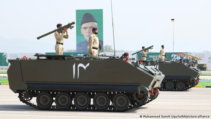 Pakistani army take part in a military parade to mark Pakistan's Republic Day in Islamabad
