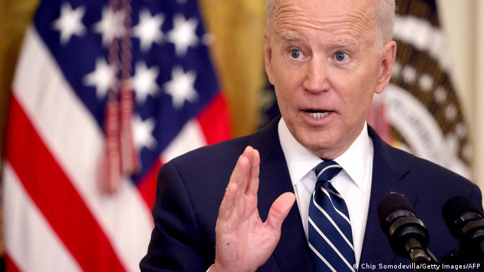 President Biden answers questions by the press in the White House. Chip Somodevilla/Getty Images/AFP