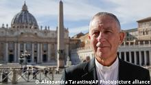 New Zealand's Cardinal John Dew poses for photos during an interview with The Associated Press, in front of St. Peter's Basilica, at the Vatican, Friday, Oct. 4, 2019. Cardinal Dew said that Pope Francis has accepted the resignation of a New Zealand bishop, Charles Drennan, 59, over what church officials said was completely unacceptable sexual behavior with a young woman. (AP Photo/Alessandra Tarantino)