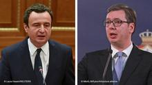 L: Kosovo's newly elected Prime Minister Albin Kurti delivers his speech after taking an oath during a parliament session in Pristina, Kosovo March 22, 2021. REUTERS/Laura Hasani,. R: 16/01/2018 BELGRADE, SERBIA - JANUARY 16: Serbian President Aleksandar Vucic and Serbian Prime Minister Ana Brnabic hold a press conference after National Security Council at the Serbian Presidency in Belgrade, Serbia on January 16, 2018. Miloš Miškov / Anadolu Agency