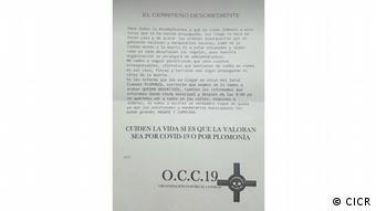 Panfleto que escriben los grupos armados ilegales para amedrentar a la población y ejercer control de territorio.