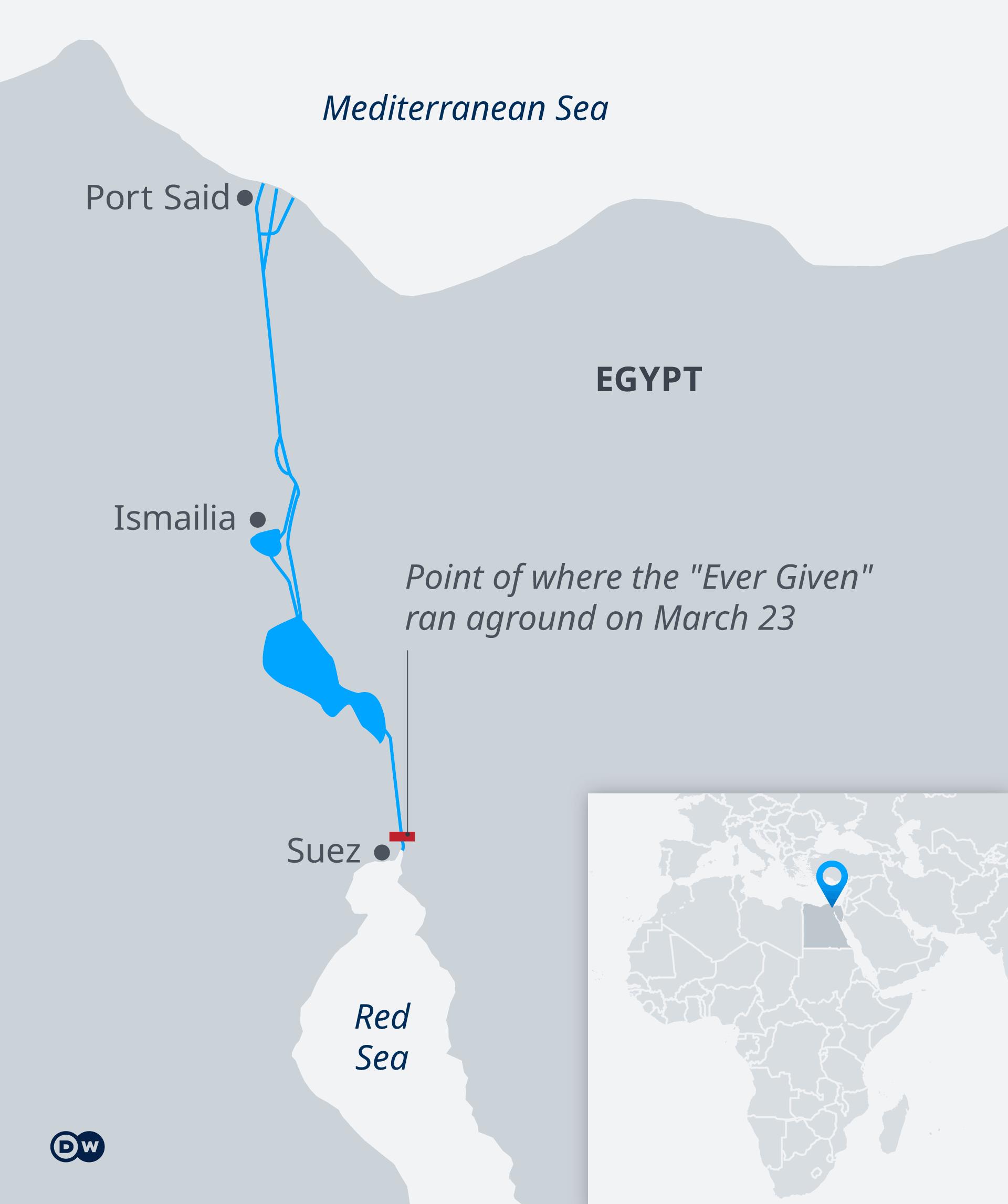 Infografik Karte Der Suez-Kanal wird von dem Tanker Ever Given blockiert EN