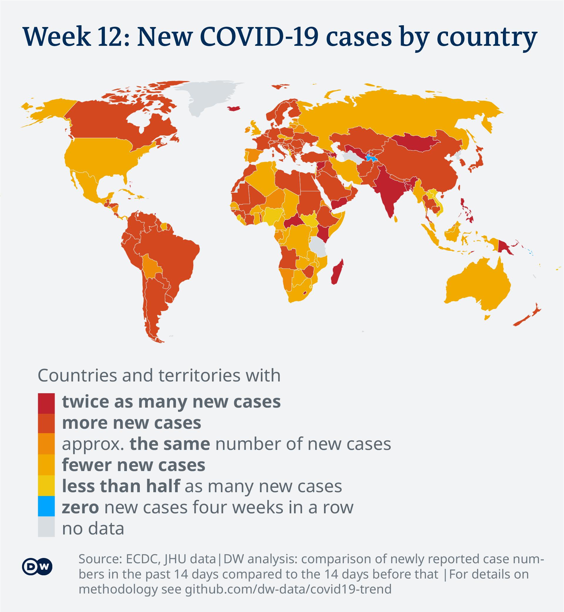Evoluţia noilor infectări cu coronavirus în lume
